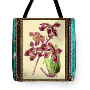 Vintage Orchid Antique Design Marble Caribbean-blue Tote Bag