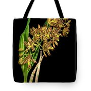 Vintage Orchid Print On Black Paperboard Tote Bag