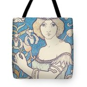 Vintage Poster - Woman With Flower Tote Bag