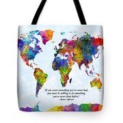 Watercolor World Map Custom Text Added Tote Bag