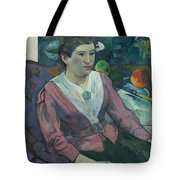 Woman In Front Of A Still Life By Cezanne Tote Bag