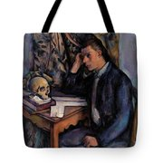 Young Man And Skull Tote Bag