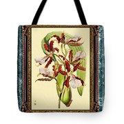 Vintage Orchid Antique Design Marble Blue-green  Tote Bag