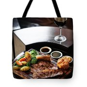 Sunday Roast Beef Traditional British Meal Set On Table Tote Bag