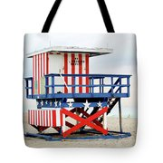 13th Street Lifeguard Tower - Miami Beach Tote Bag by Art Block Collections