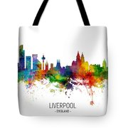 Liverpool England Skyline Tote Bag