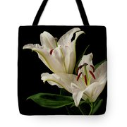 White Lily On Black. Tote Bag