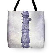 1889 Fire Hydrant Patent Blueprint Tote Bag