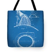 1889 Hopkins Fireman's Hat Blueprint Patent Print Tote Bag