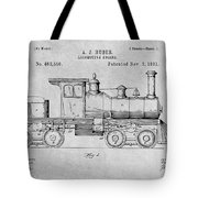 1891 Huber Locomotive Engine Gray Patent Print Tote Bag