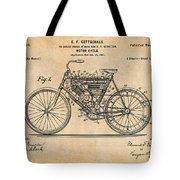 1901 Stratton Motorcycle Antique Paper Patent Print Tote Bag