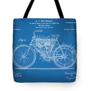 1901 Stratton Motorcycle Blueprint Patent Print Tote Bag