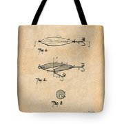 1909 Lockhart Antique Fishing Lure Antique Paper Patent Print Tote Bag