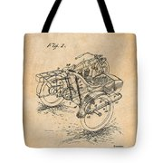 1913 Side Car Attachment For Motorcycle Antique Paper Patent Print Tote Bag