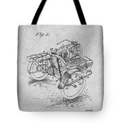 1913 Side Car Attachment For Motorcycle Gray Patent Print Tote Bag