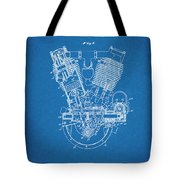1914 Spacke V Twin Motorcycle Engine Blueprint Patent Print Tote Bag