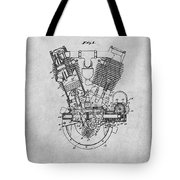1914 Spacke V Twin Motorcycle Engine Gray Patent Print Tote Bag