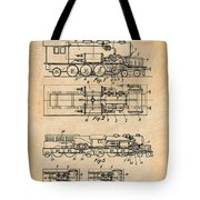 1925 Turbine Driven Locomotive Antique Paper Patent Print  Tote Bag