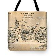 1928 Harley Davidson Motorcycle Antique Paper Patent Print Tote Bag