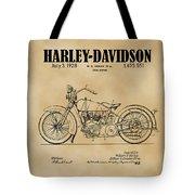 1928 Harley Davidson Motorcyle Patent Illustration Art Print Tote Bag by David Millenheft