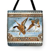 1934 Hunting Stamp Collage Tote Bag by Clint Hansen