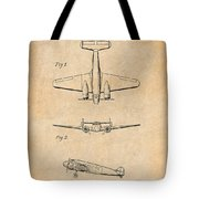 1934 Lockheed Model 10 Electra Airliner Patent Antique Paper Tote Bag