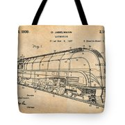1937 Jabelmann Locomotive Antique Paper Patent Print Tote Bag