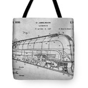 1937 Jabelmann Locomotive Gray Patent Print Tote Bag