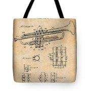 1937 Trumpet Antique Paper Patent Print Tote Bag