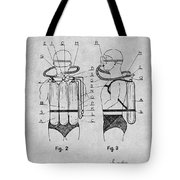 1947 Jacques Cousteau Diving Suit Patent Print Gray Tote Bag