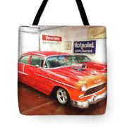 1955 Chevy Blower In The Gorage Tote Bag