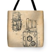 1960 Rolleiflex Photographic Camera Antique Paper Patent Print Tote Bag