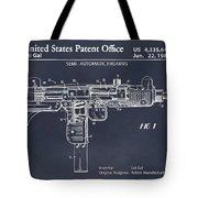 1982 Uzi Submachine Gun Blackboard Patent Print Tote Bag