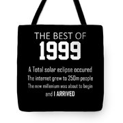 1999 20th Birthday Gift For 20 Year Old Boys Girls Tote Bag