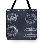 1999 Rolex Diving Watch Patent Print Blackboard Tote Bag