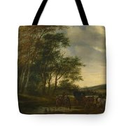 A Landscape With A Carriage And Horsemen At A Pool  Tote Bag