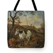 A White Horse Standing By A Sleeping Man  Tote Bag