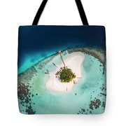 Aerial Drone View Of A Tropical Island, Maldives Tote Bag