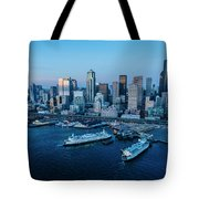 Aerial View Of A City, Seattle, King Tote Bag