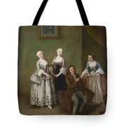 An Interior With Three Women And A Seated Man  Tote Bag