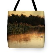 Beautiful Dawn Landscape Image Of River Thames At Lechlade-on-th Tote Bag