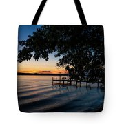 Boat Dock Sunset On Seneca Lake Tote Bag by Michael D Miller