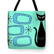 Cat With Mid Century Modern Oblongs Tote Bag by Donna Mibus