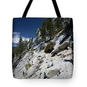 Cyclist On Mountain Road, Lake Tahoe Tote Bag