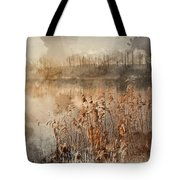 Digital Watercolor Painting Of Landscape Of Lake In Mist With Su Tote Bag