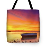 Fishing Boat At Sunset Time Tote Bag