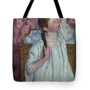 Girl Arranging Her Hair   Tote Bag