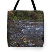 Long Exposure Photographs Of Rolling River With Fall Foliage Tote Bag