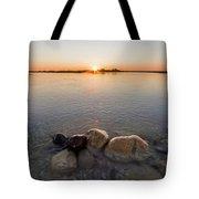Sunset Over Platte River Tote Bag