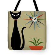 Tabletop Cat With Starburst Clock Tote Bag by Donna Mibus